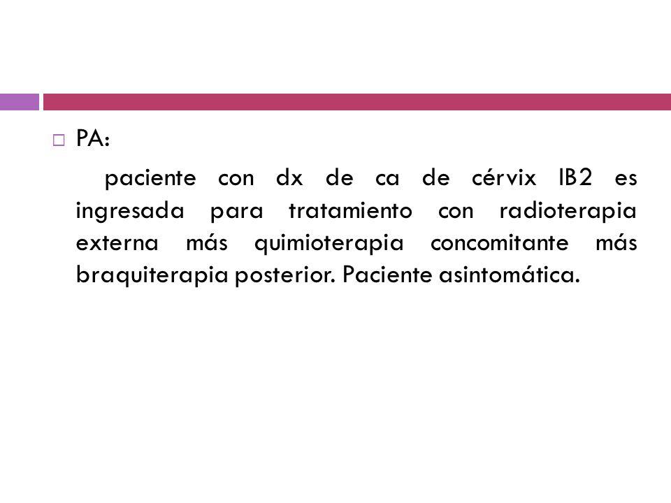 PA: paciente con dx de ca de cérvix IB2 es ingresada para tratamiento con radioterapia externa más quimioterapia concomitante más braquiterapia poster