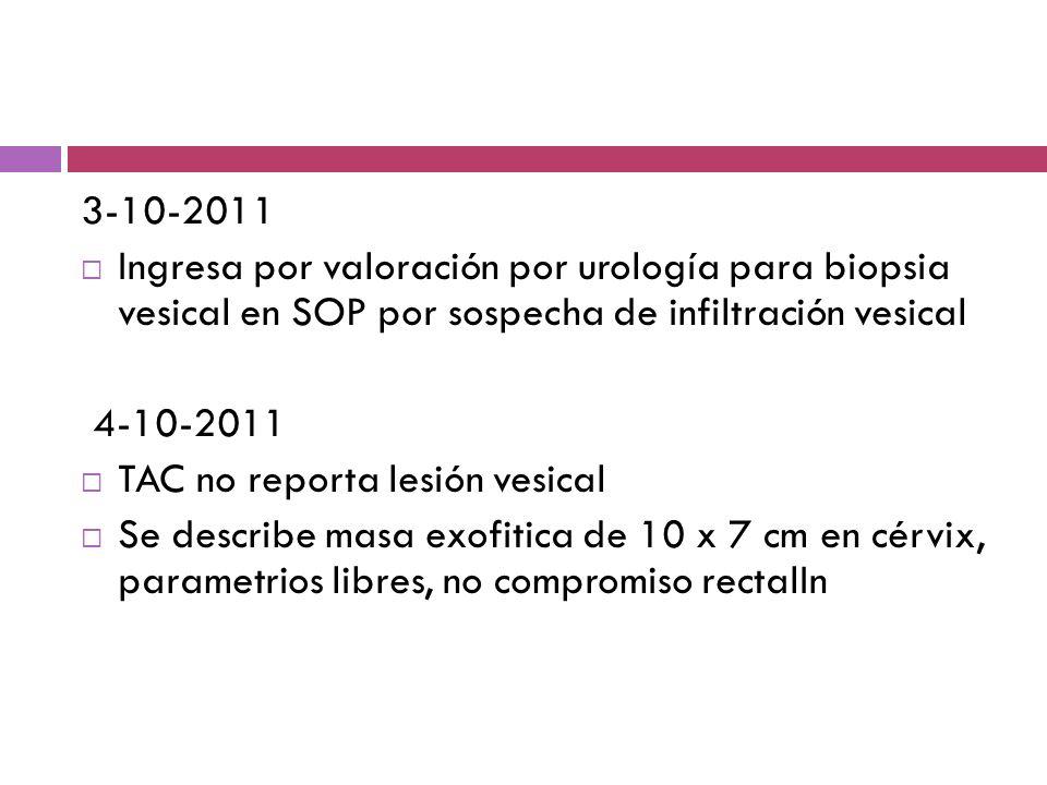 3-10-2011 Ingresa por valoración por urología para biopsia vesical en SOP por sospecha de infiltración vesical 4-10-2011 TAC no reporta lesión vesical