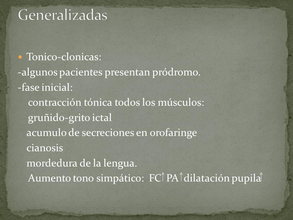 Tonico-clonicas: -algunos pacientes presentan pródromo. -fase inicial: contracción tónica todos los músculos: gruñido-grito ictal acumulo de secrecion