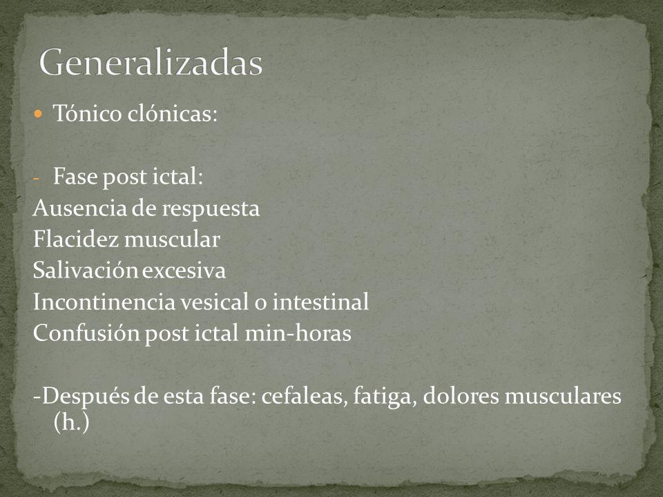 Tónico clónicas: - Fase post ictal: Ausencia de respuesta Flacidez muscular Salivación excesiva Incontinencia vesical o intestinal Confusión post icta