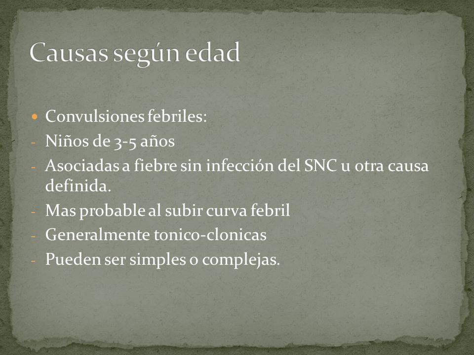Convulsiones febriles: - Niños de 3-5 años - Asociadas a fiebre sin infección del SNC u otra causa definida. - Mas probable al subir curva febril - Ge