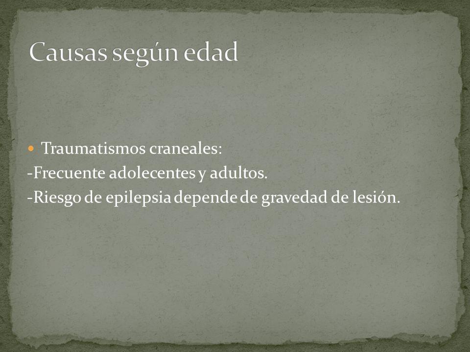 Traumatismos craneales: -Frecuente adolecentes y adultos. -Riesgo de epilepsia depende de gravedad de lesión.