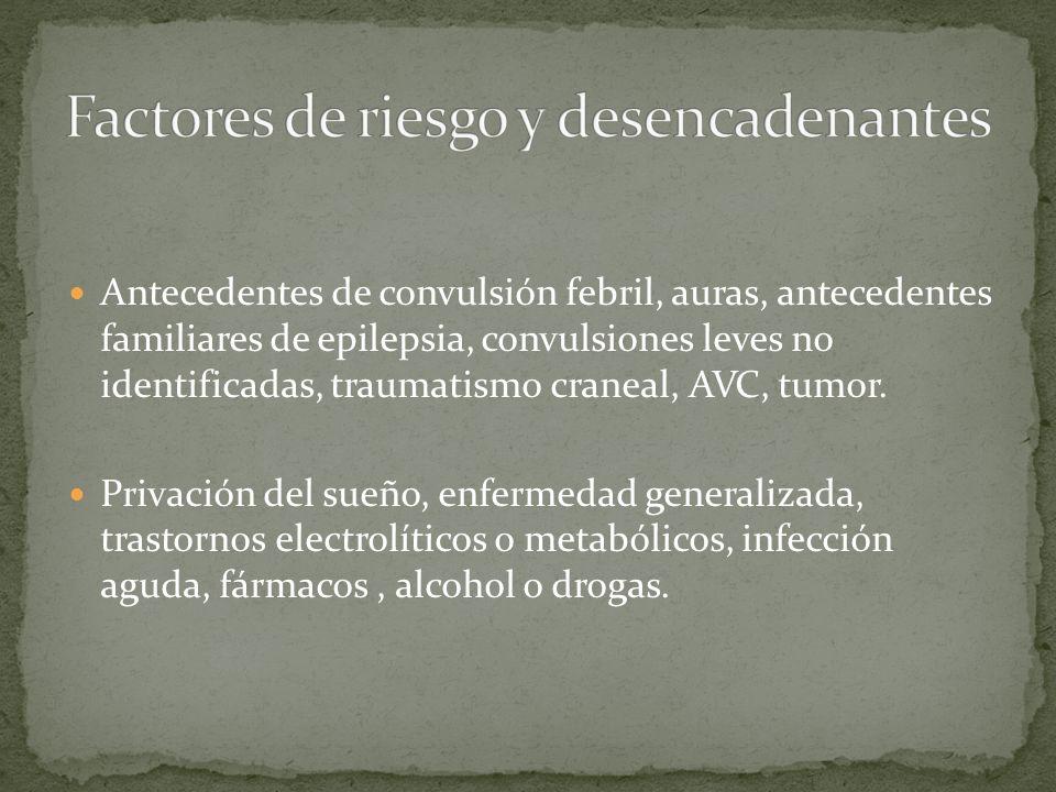 Antecedentes de convulsión febril, auras, antecedentes familiares de epilepsia, convulsiones leves no identificadas, traumatismo craneal, AVC, tumor.