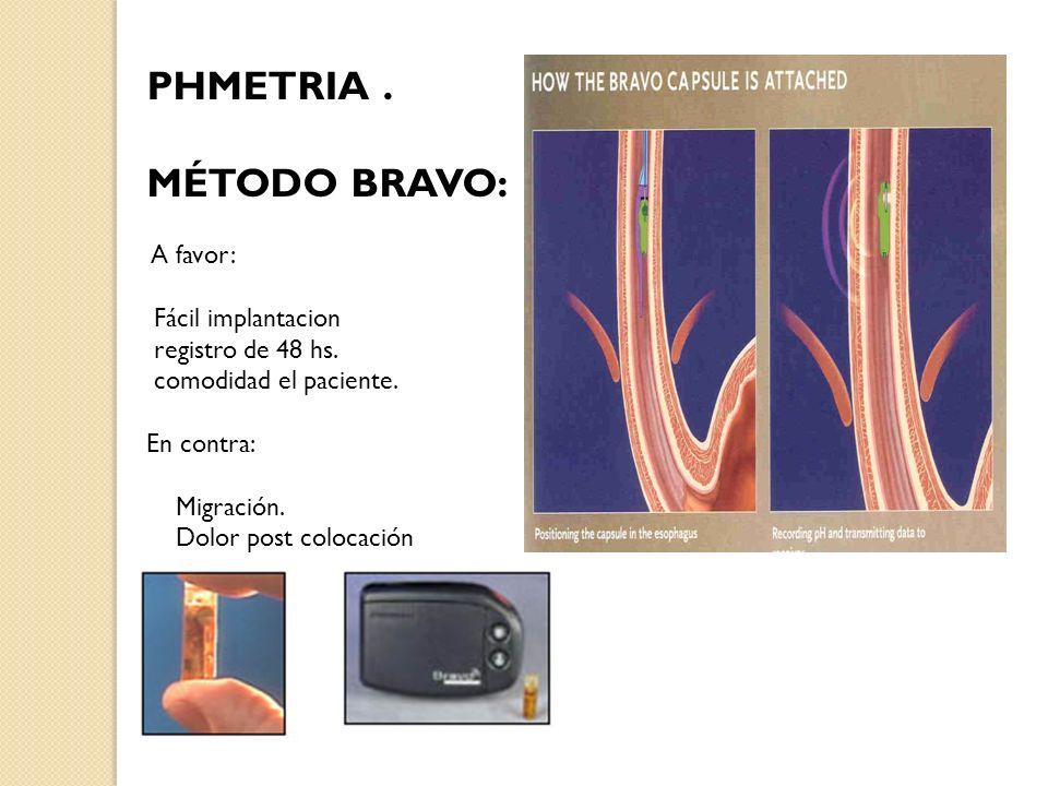 PHMETRIA. MÉTODO BRAVO: A favor: Fácil implantacion registro de 48 hs. comodidad el paciente. En contra: Migración. Dolor post colocación
