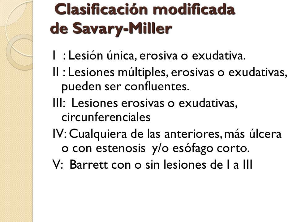 Clasificación modificada de Savary-Miller Clasificación modificada de Savary-Miller I : Lesión única, erosiva o exudativa. II : Lesiones múltiples, er