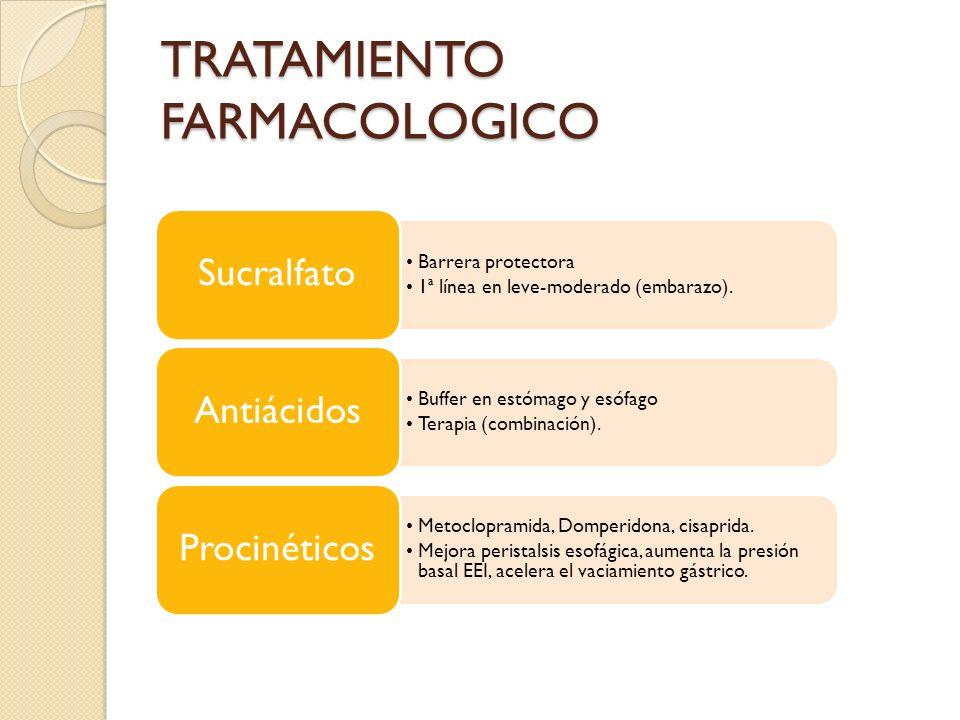 TRATAMIENTO FARMACOLOGICO Barrera protectora 1ª línea en leve-moderado (embarazo). Sucralfato Buffer en estómago y esófago Terapia (combinación). Anti