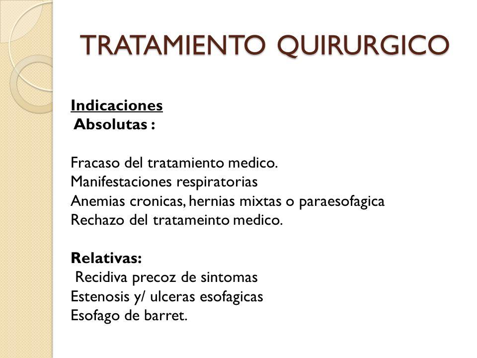 TRATAMIENTO QUIRURGICO Indicaciones Absolutas : Fracaso del tratamiento medico. Manifestaciones respiratorias Anemias cronicas, hernias mixtas o parae