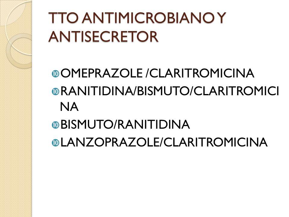 TTO ANTIMICROBIANO Y ANTISECRETOR OMEPRAZOLE /CLARITROMICINA RANITIDINA/BISMUTO/CLARITROMICI NA BISMUTO/RANITIDINA LANZOPRAZOLE/CLARITROMICINA