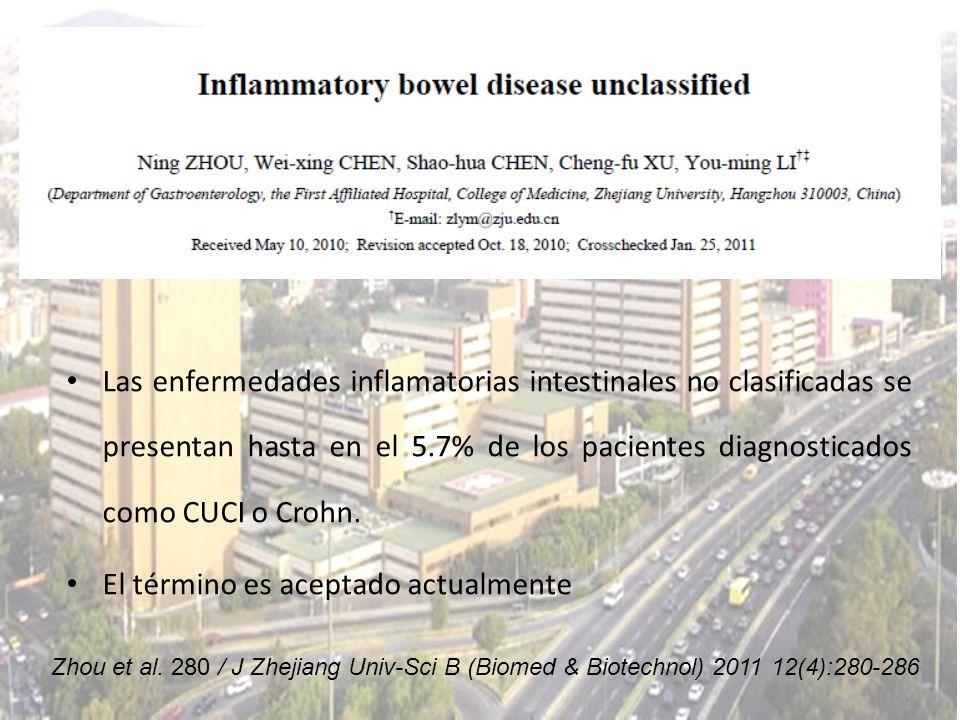 Las enfermedades inflamatorias intestinales no clasificadas se presentan hasta en el 5.7% de los pacientes diagnosticados como CUCI o Crohn. El términ