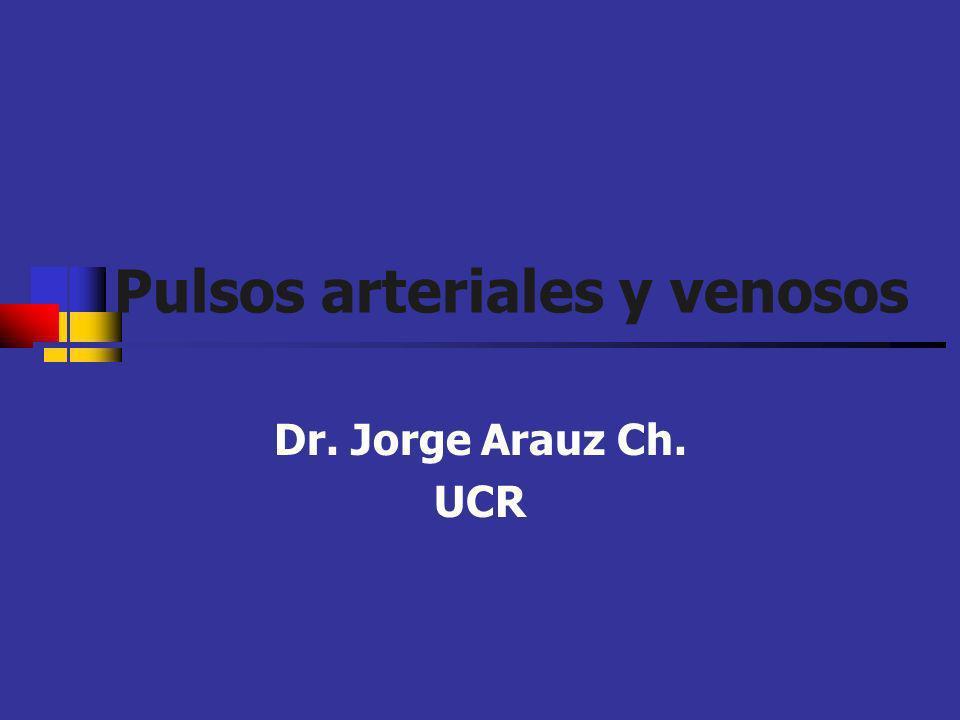 Pulsos arteriales El volumen y contorno depende: Volumen de eyección VI Velocidad de eyección La capacitancia del lecho vascular Ondas de persión del flujo anterógrado