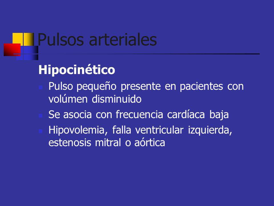 Hipocinético Pulso pequeño presente en pacientes con volúmen disminuido Se asocia con frecuencia cardíaca baja Hipovolemia, falla ventricular izquierd