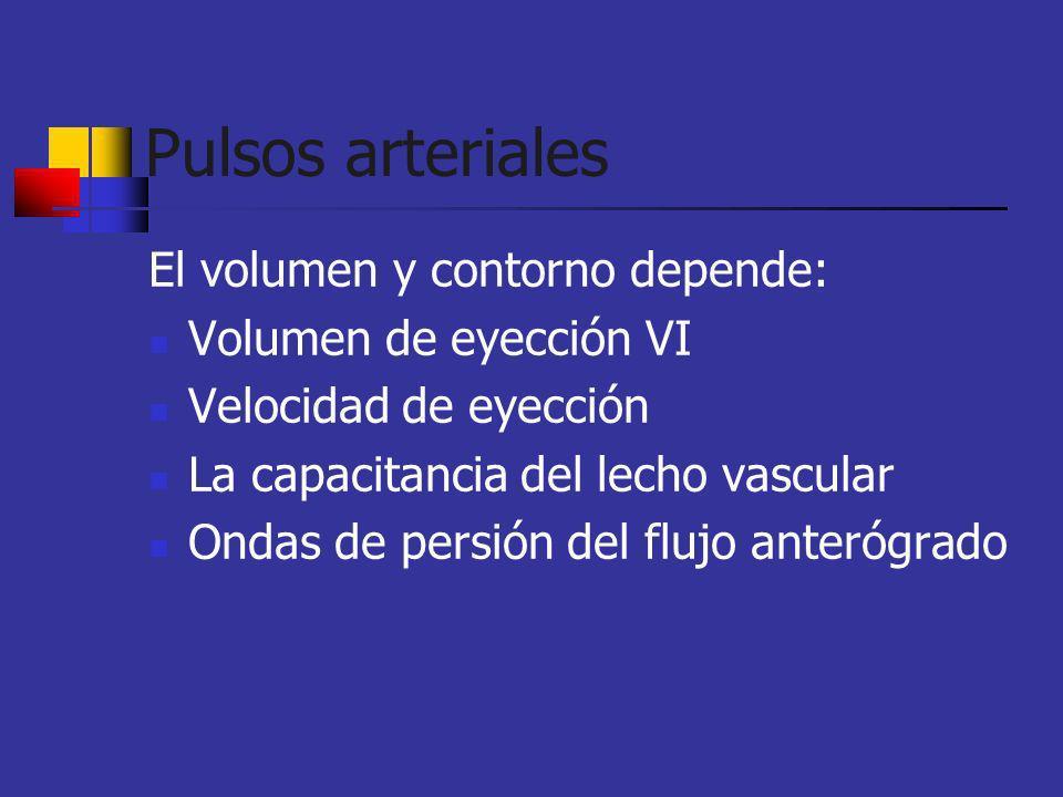 Pulsos arteriales El volumen y contorno depende: Volumen de eyección VI Velocidad de eyección La capacitancia del lecho vascular Ondas de persión del