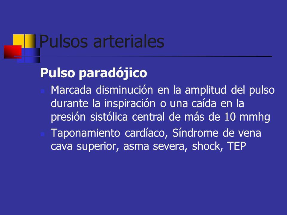 Pulsos arteriales Pulso paradójico Marcada disminución en la amplitud del pulso durante la inspiración o una caída en la presión sistólica central de