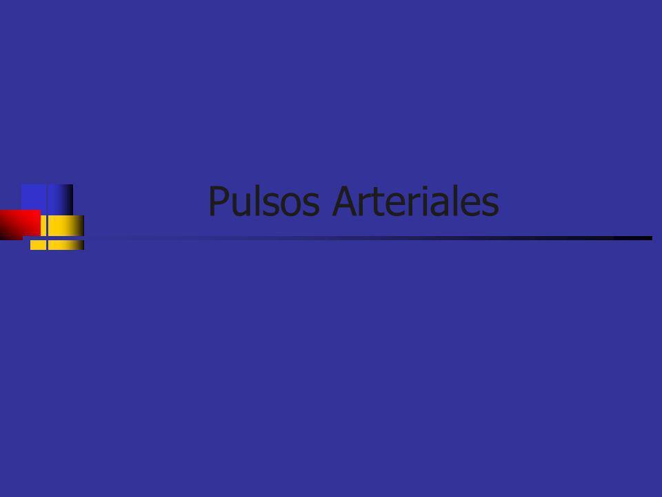 Pulso arterial Hipercinético Céler Pulso grande y lleno indica rápida eyección de un volúmen aumentado del VI Pulso en martillo de agua Quincke: pequeñas pulsaciones visibles en las uñas Estados hiperdinámicos Enf con vol eyectivos aumentados