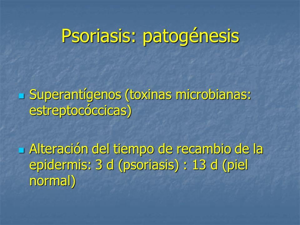 Psoriasis: histopatología Hiperplasia psoriasiforme epidermis Hiperplasia psoriasiforme epidermis Elongación crestas interpapilares Elongación crestas interpapilares Dilatación vasos de dermis papilar Dilatación vasos de dermis papilar Infiltrado perivascular de predominio linfocitario en la dermis Infiltrado perivascular de predominio linfocitario en la dermis Paraqueratosis (montículos, confluente) Paraqueratosis (montículos, confluente) Ortoqueratosis Ortoqueratosis