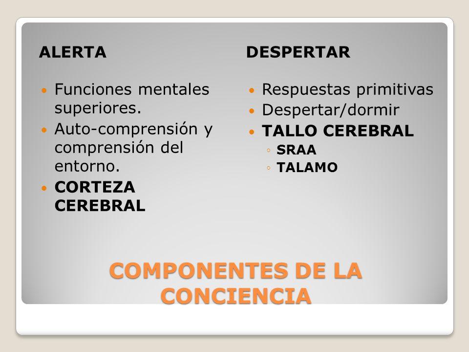 COMPONENTES DE LA CONCIENCIA ALERTADESPERTAR Funciones mentales superiores. Auto-comprensión y comprensión del entorno. CORTEZA CEREBRAL Respuestas pr
