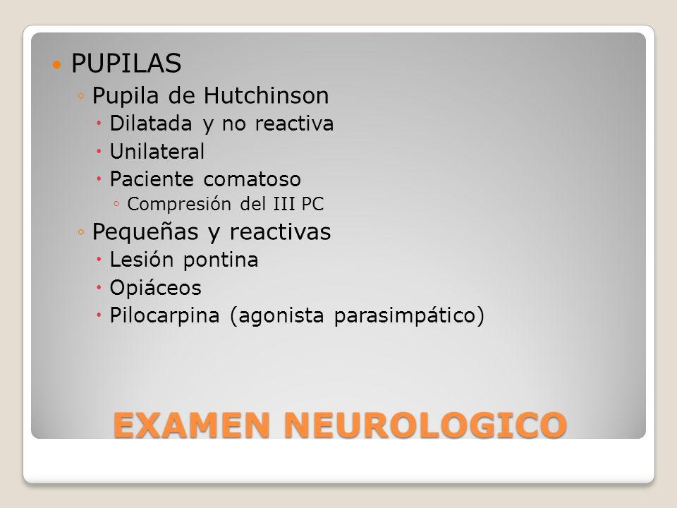 EXAMEN NEUROLOGICO PUPILAS Pupila de Hutchinson Dilatada y no reactiva Unilateral Paciente comatoso Compresión del III PC Pequeñas y reactivas Lesión
