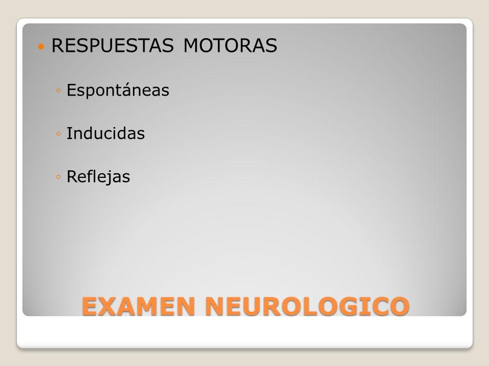EXAMEN NEUROLOGICO RESPUESTAS MOTORAS Espontáneas Inducidas Reflejas