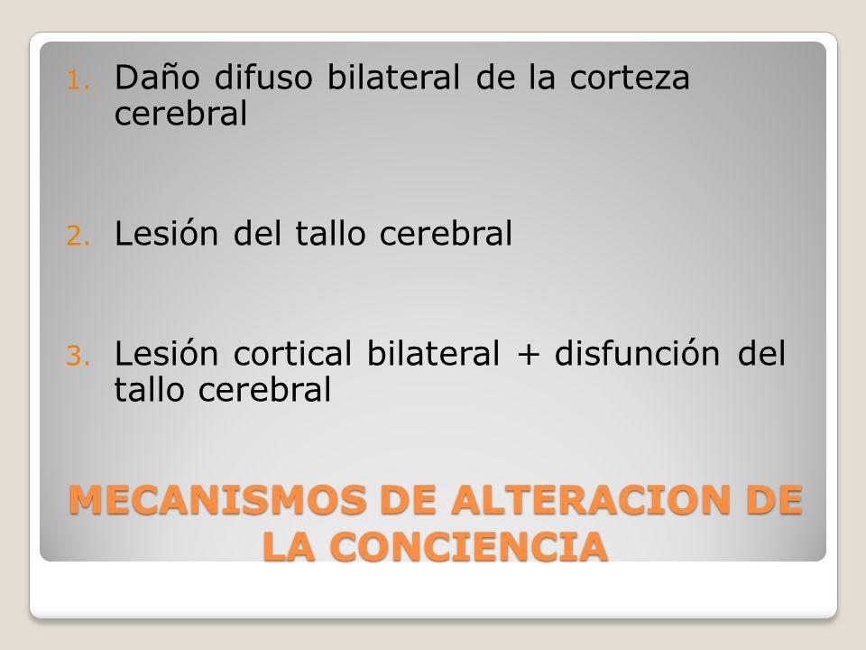 MECANISMOS DE ALTERACION DE LA CONCIENCIA 1. Daño difuso bilateral de la corteza cerebral 2. Lesión del tallo cerebral 3. Lesión cortical bilateral +