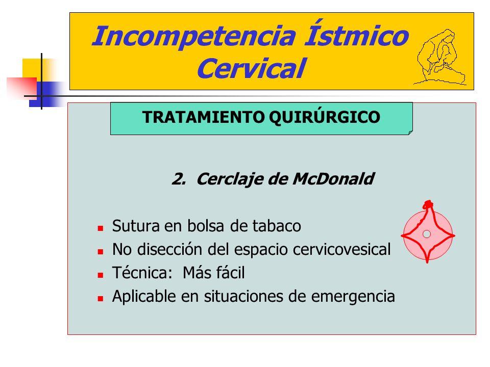 Incompetencia Ístmico Cervical 2. Cerclaje de McDonald Sutura en bolsa de tabaco No disección del espacio cervicovesical Técnica: Más fácil Aplicable