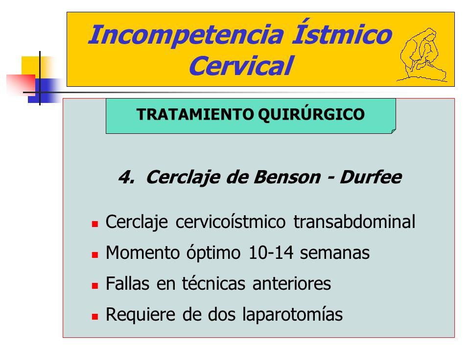 Incompetencia Ístmico Cervical 4. Cerclaje de Benson - Durfee Cerclaje cervicoístmico transabdominal Momento óptimo 10-14 semanas Fallas en técnicas a