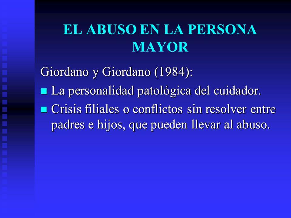 Giordano y Giordano (1984): La personalidad patológica del cuidador. La personalidad patológica del cuidador. Crisis filiales o conflictos sin resolve