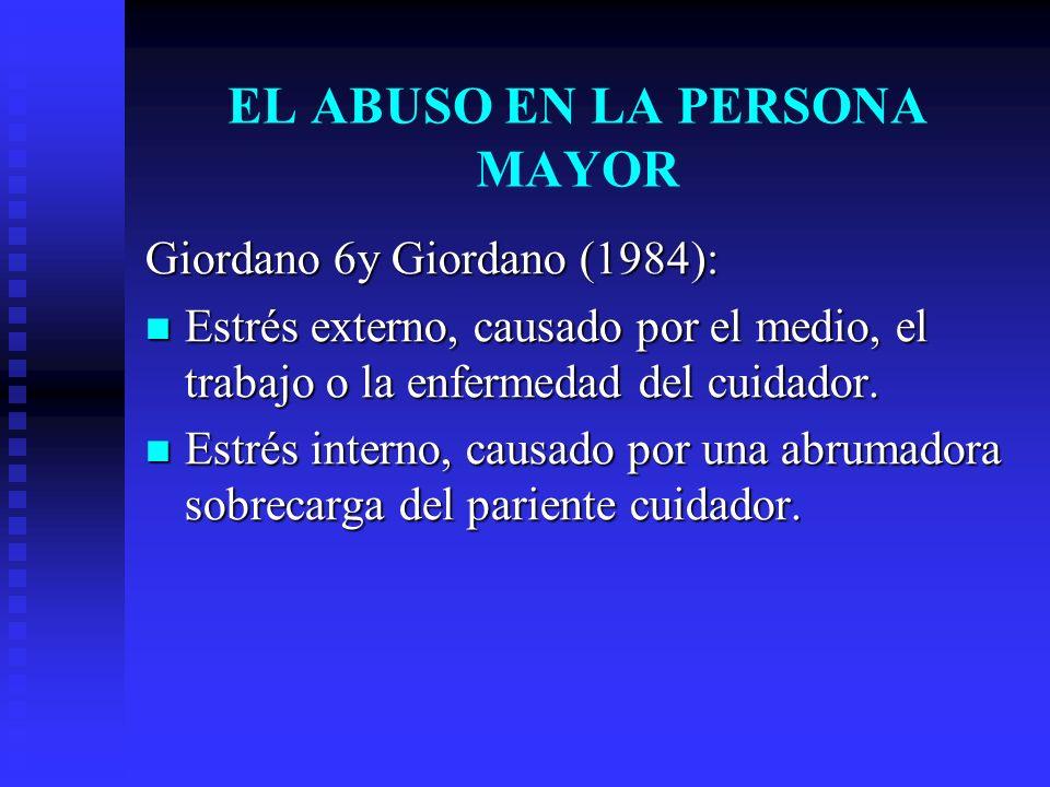 Giordano 6y Giordano (1984): Estrés externo, causado por el medio, el trabajo o la enfermedad del cuidador. Estrés externo, causado por el medio, el t