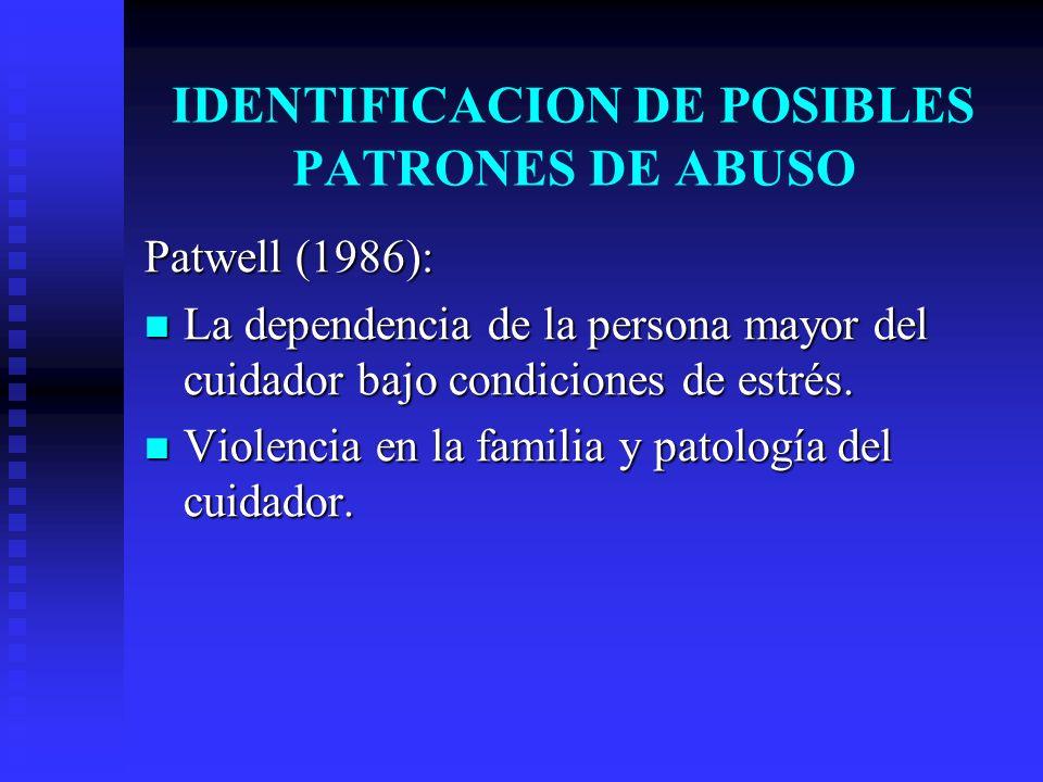 IDENTIFICACION DE POSIBLES PATRONES DE ABUSO Patwell (1986): La dependencia de la persona mayor del cuidador bajo condiciones de estrés. La dependenci