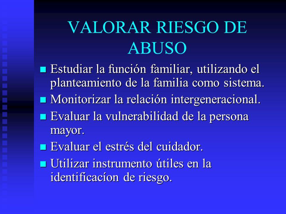 VALORAR RIESGO DE ABUSO Estudiar la función familiar, utilizando el planteamiento de la familia como sistema. Estudiar la función familiar, utilizando