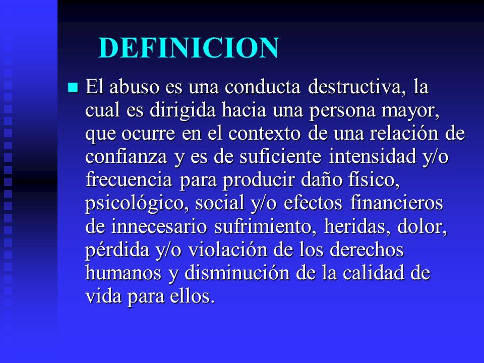 DEFINICION El abuso es una conducta destructiva, la cual es dirigida hacia una persona mayor, que ocurre en el contexto de una relación de confianza y