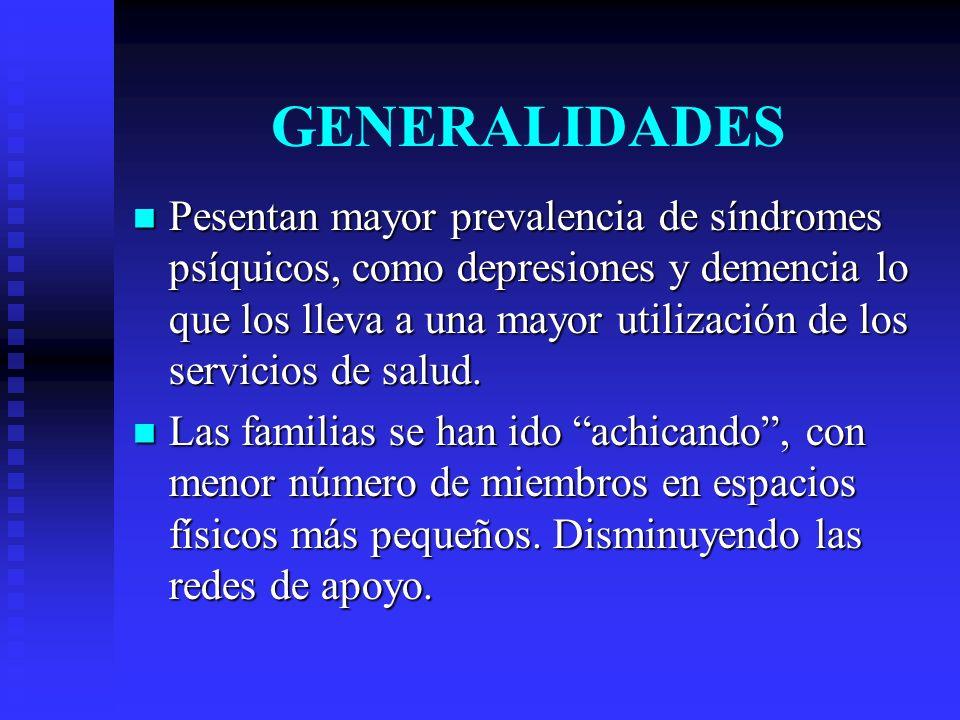 GENERALIDADES Pesentan mayor prevalencia de síndromes psíquicos, como depresiones y demencia lo que los lleva a una mayor utilización de los servicios