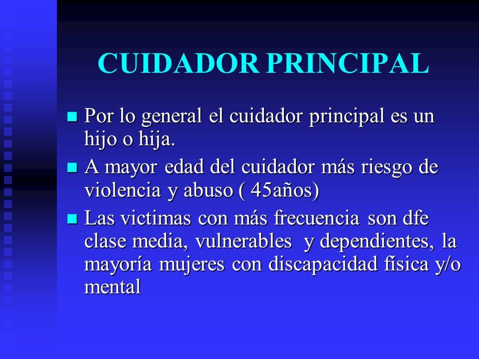 CUIDADOR PRINCIPAL Por lo general el cuidador principal es un hijo o hija. Por lo general el cuidador principal es un hijo o hija. A mayor edad del cu