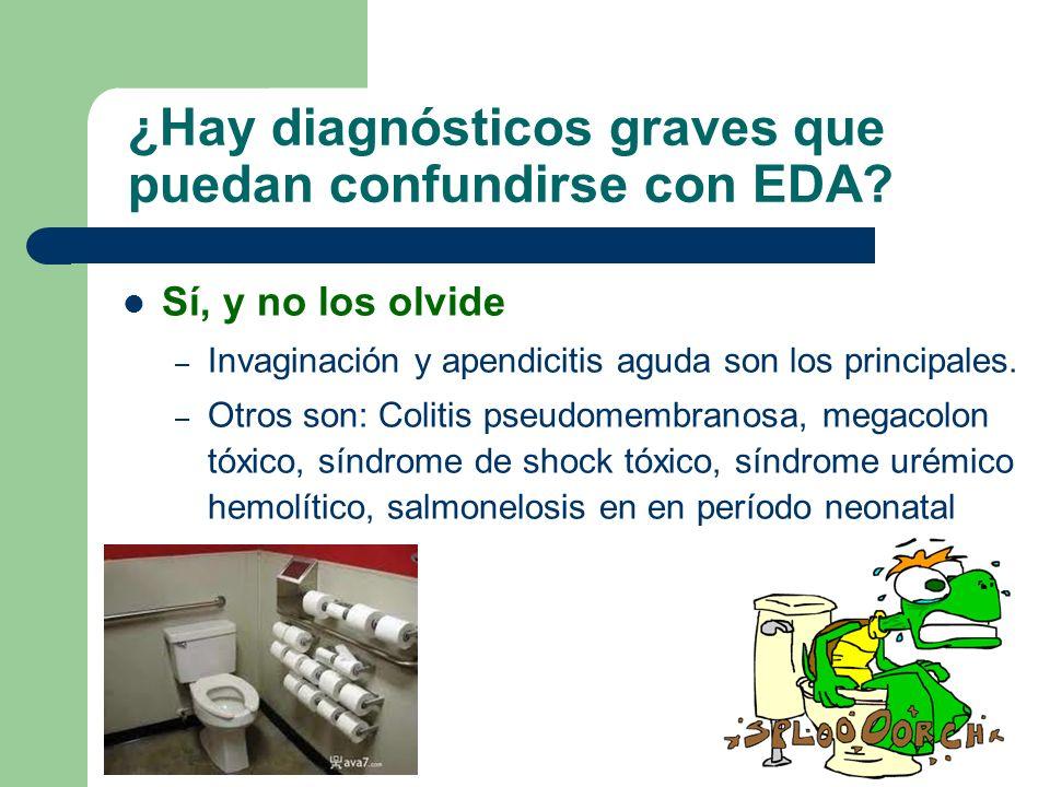 ¿Hay diagnósticos graves que puedan confundirse con EDA? Sí, y no los olvide – Invaginación y apendicitis aguda son los principales. – Otros son: Coli