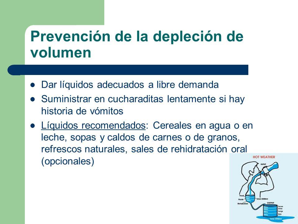 Prevención de la depleción de volumen Dar líquidos adecuados a libre demanda Suministrar en cucharaditas lentamente si hay historia de vómitos Líquido