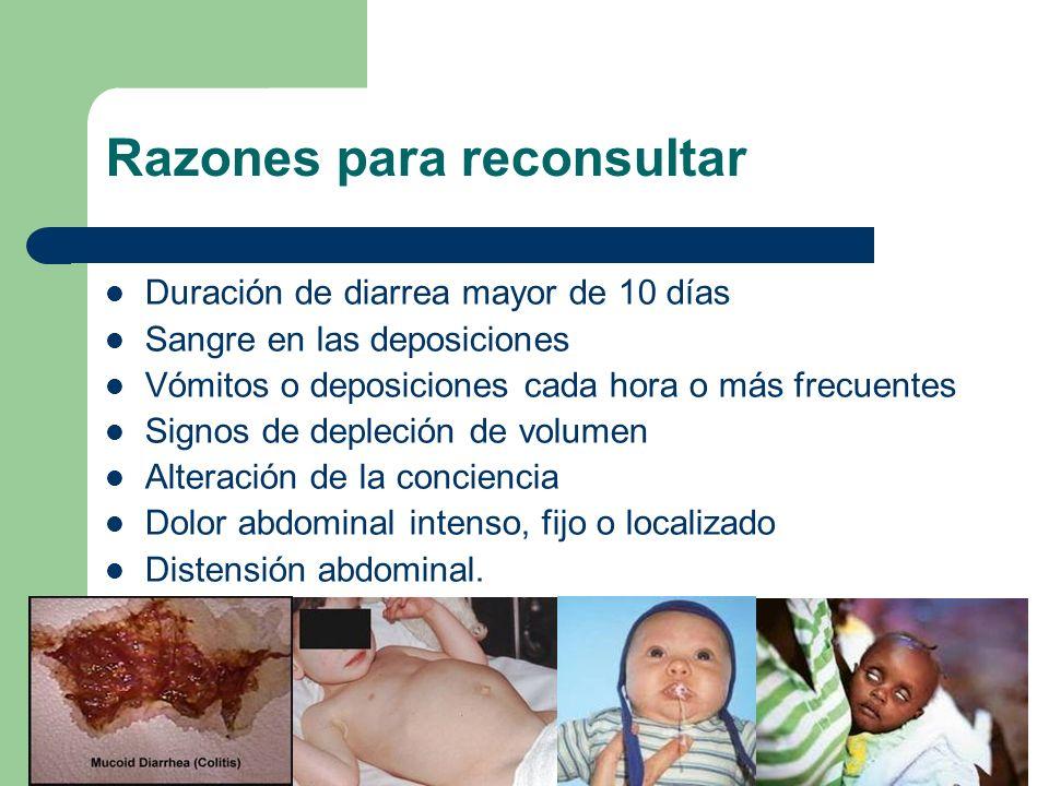 Razones para reconsultar Duración de diarrea mayor de 10 días Sangre en las deposiciones Vómitos o deposiciones cada hora o más frecuentes Signos de d