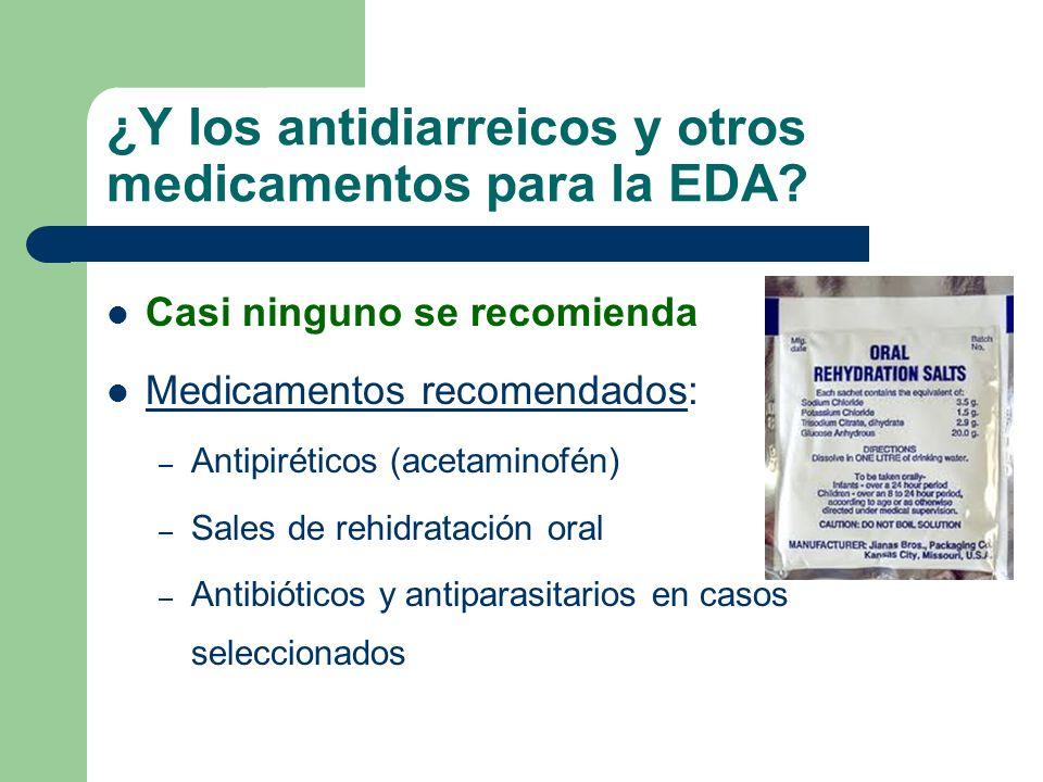 ¿Y los antidiarreicos y otros medicamentos para la EDA? Casi ninguno se recomienda Medicamentos recomendados: – Antipiréticos (acetaminofén) – Sales d