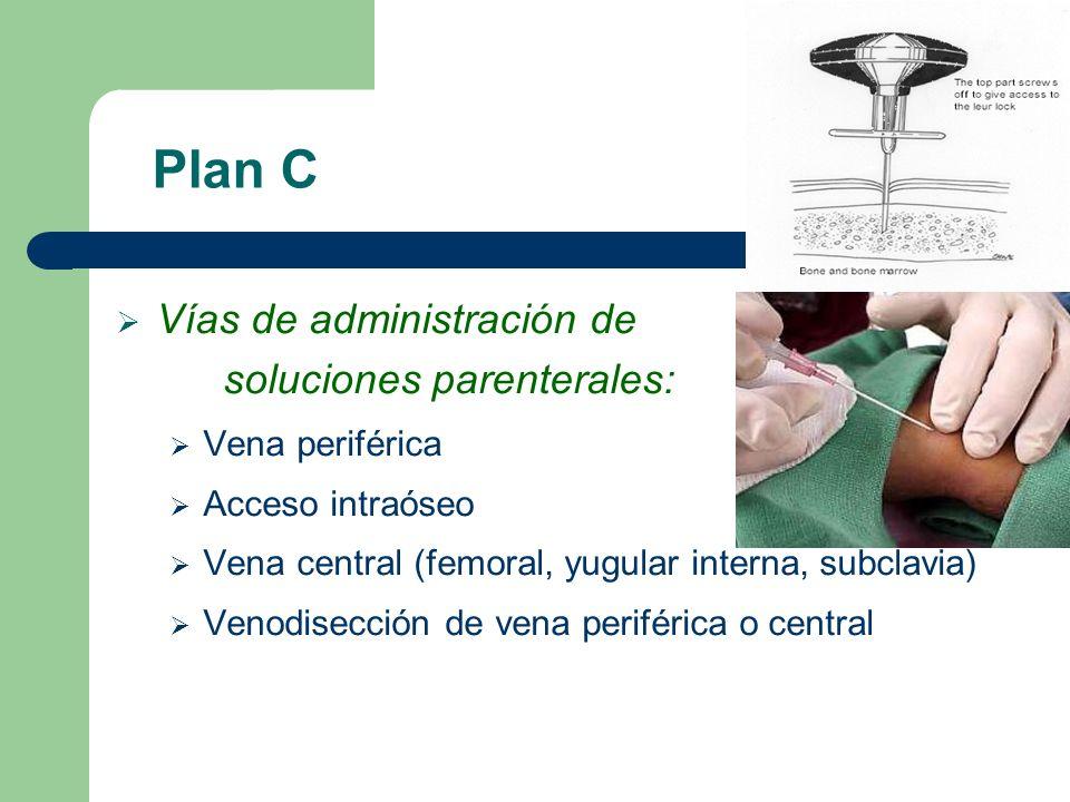 Plan C Vías de administración de soluciones parenterales: Vena periférica Acceso intraóseo Vena central (femoral, yugular interna, subclavia) Venodise