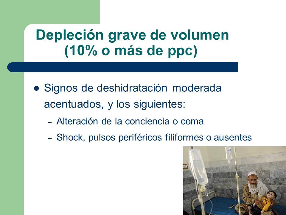Depleción grave de volumen (10% o más de ppc) Signos de deshidratación moderada acentuados, y los siguientes: – Alteración de la conciencia o coma – S