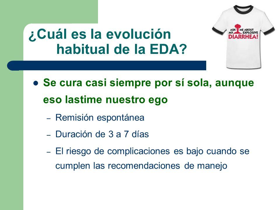 ¿Cuál es la evolución habitual de la EDA? Se cura casi siempre por sí sola, aunque eso lastime nuestro ego – Remisión espontánea – Duración de 3 a 7 d