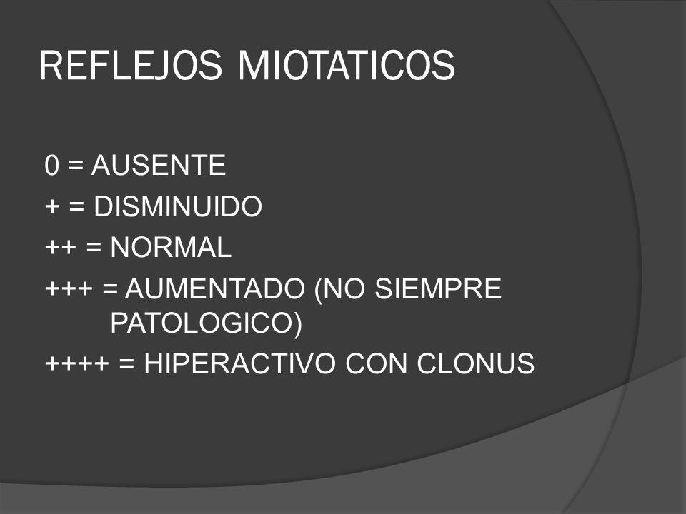 REFLEJOS MIOTATICOS 0 = AUSENTE + = DISMINUIDO ++ = NORMAL +++ = AUMENTADO (NO SIEMPRE PATOLOGICO) ++++ = HIPERACTIVO CON CLONUS