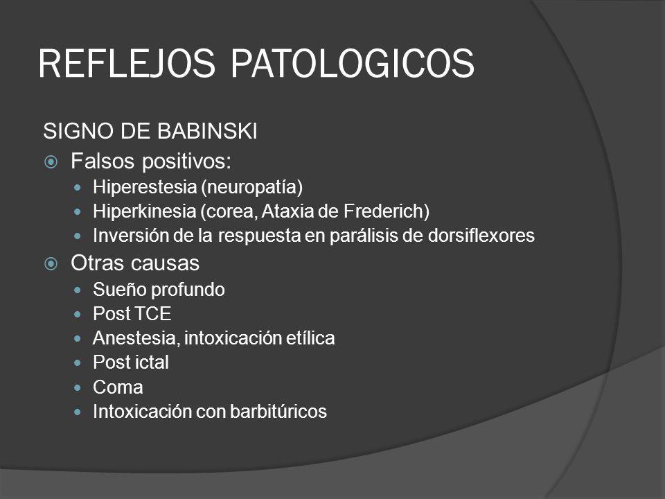REFLEJOS PATOLOGICOS SIGNO DE BABINSKI Falsos positivos: Hiperestesia (neuropatía) Hiperkinesia (corea, Ataxia de Frederich) Inversión de la respuesta