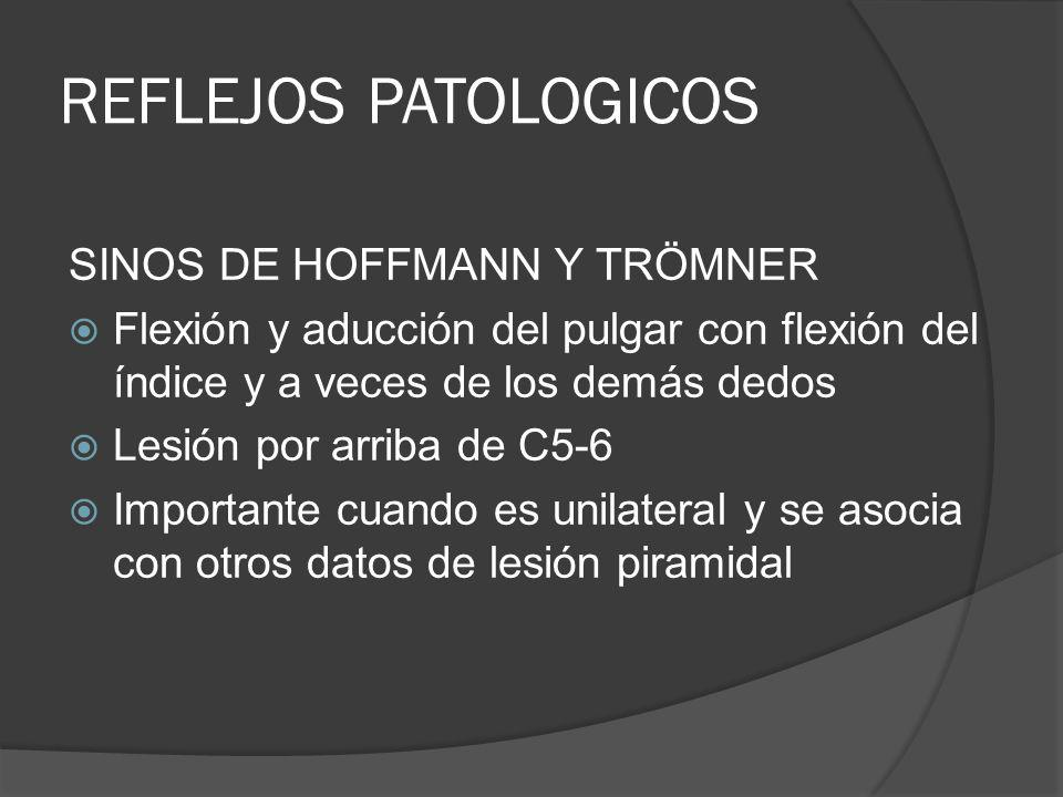 REFLEJOS PATOLOGICOS SINOS DE HOFFMANN Y TRÖMNER Flexión y aducción del pulgar con flexión del índice y a veces de los demás dedos Lesión por arriba d