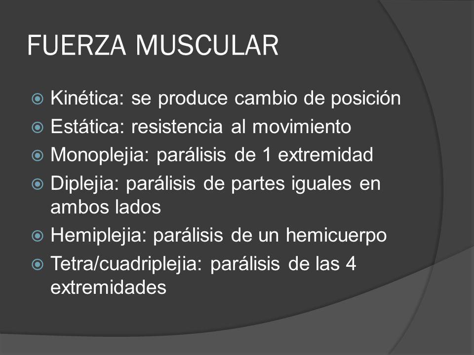 FUERZA MUSCULAR Kinética: se produce cambio de posición Estática: resistencia al movimiento Monoplejia: parálisis de 1 extremidad Diplejia: parálisis