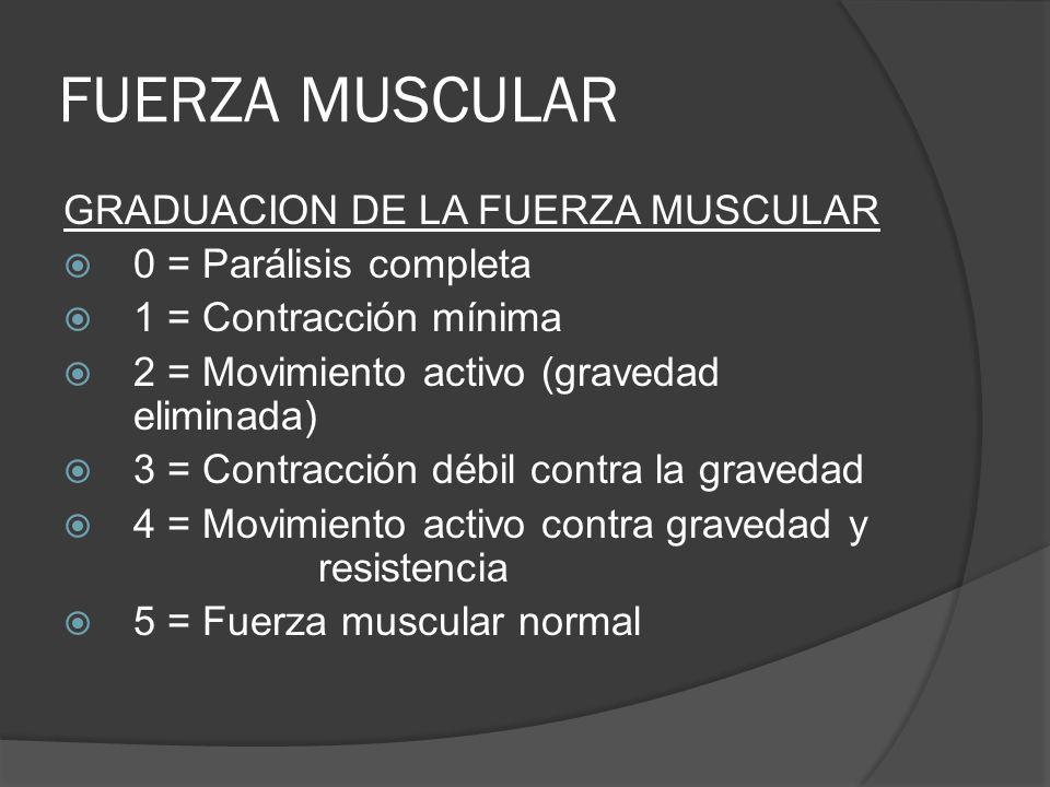 FUERZA MUSCULAR GRADUACION DE LA FUERZA MUSCULAR 0 = Parálisis completa 1 = Contracción mínima 2 = Movimiento activo (gravedad eliminada) 3 = Contracc