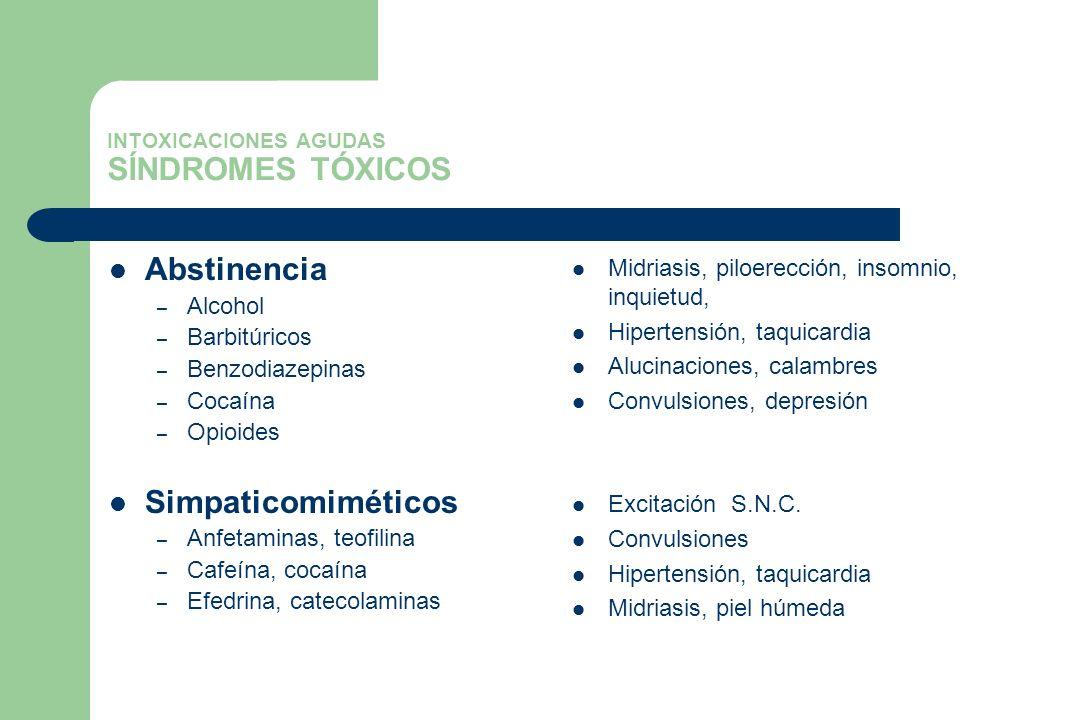 INTOXICACIONES AGUDAS SÍNDROMES TÓXICOS Abstinencia – Alcohol – Barbitúricos – Benzodiazepinas – Cocaína – Opioides Simpaticomiméticos – Anfetaminas,