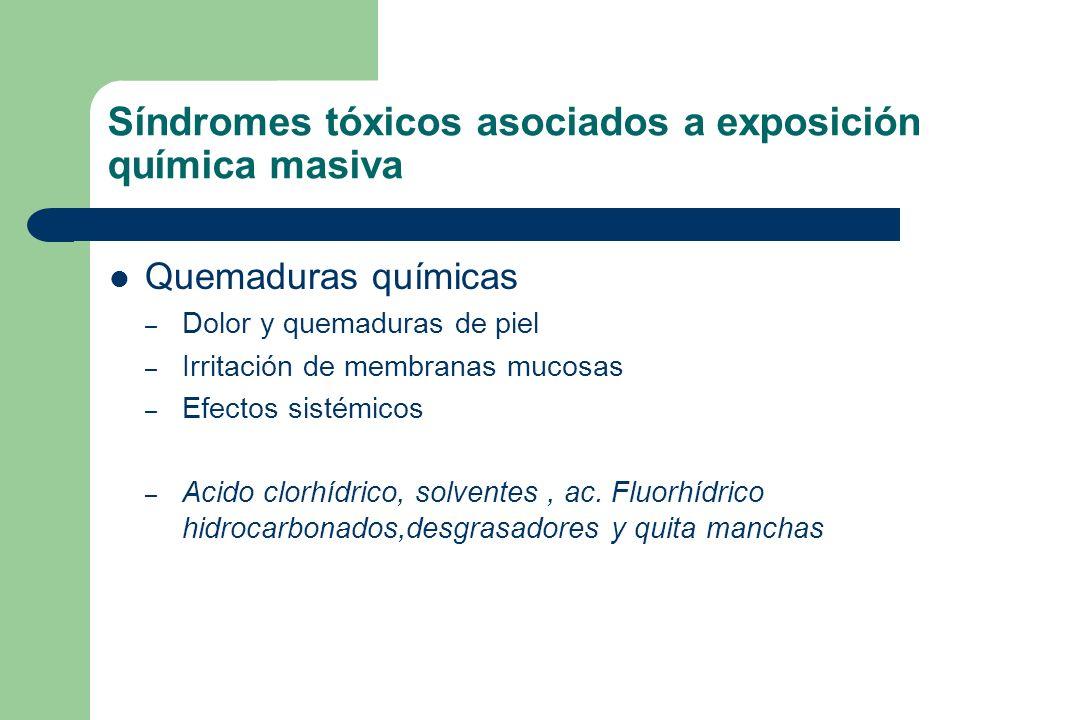 Síndromes tóxicos asociados a exposición química masiva Quemaduras químicas – Dolor y quemaduras de piel – Irritación de membranas mucosas – Efectos s