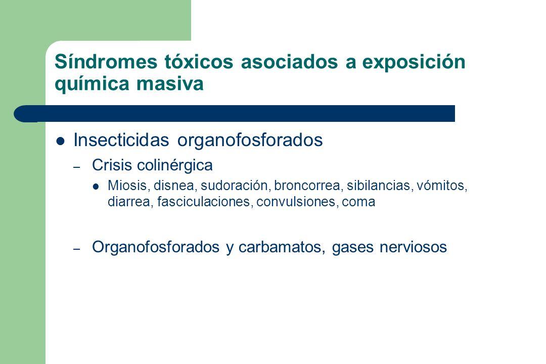 Síndromes tóxicos asociados a exposición química masiva Insecticidas organofosforados – Crisis colinérgica Miosis, disnea, sudoración, broncorrea, sib