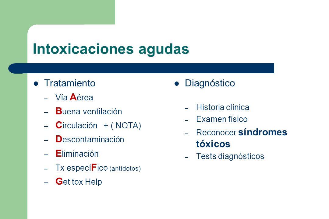 Intoxicaciones agudas Tratamiento – Vía A érea – B uena ventilación – C irculación + ( NOTA) – D escontaminación – E liminación – Tx especí F ico (ant