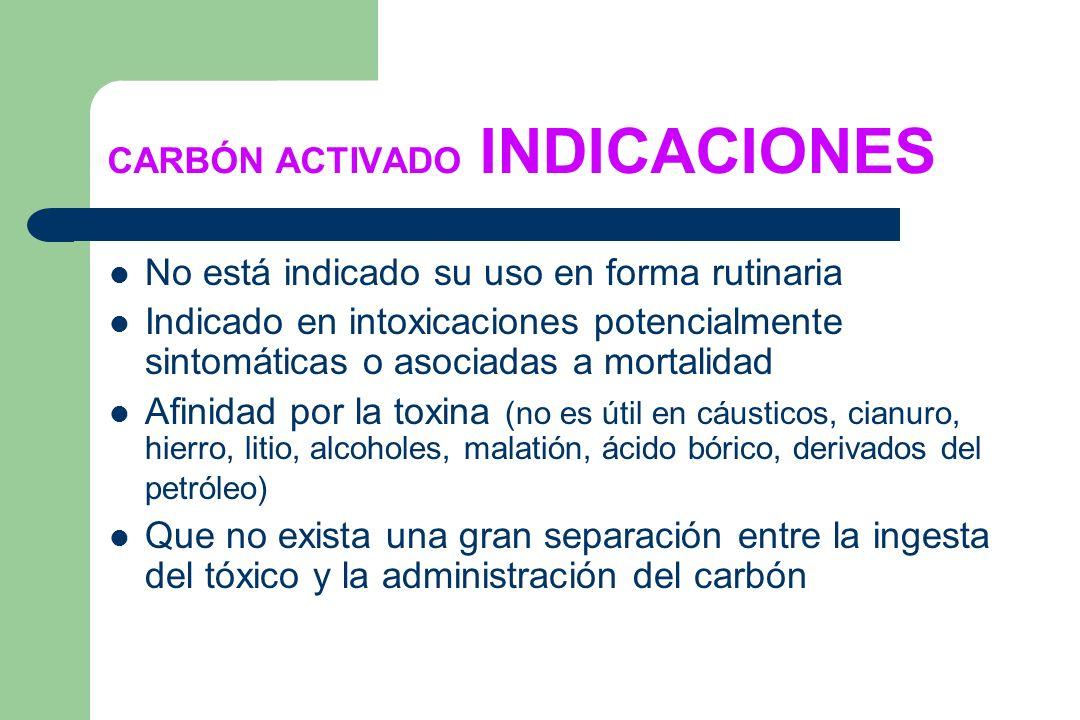 CARBÓN ACTIVADO INDICACIONES No está indicado su uso en forma rutinaria Indicado en intoxicaciones potencialmente sintomáticas o asociadas a mortalida