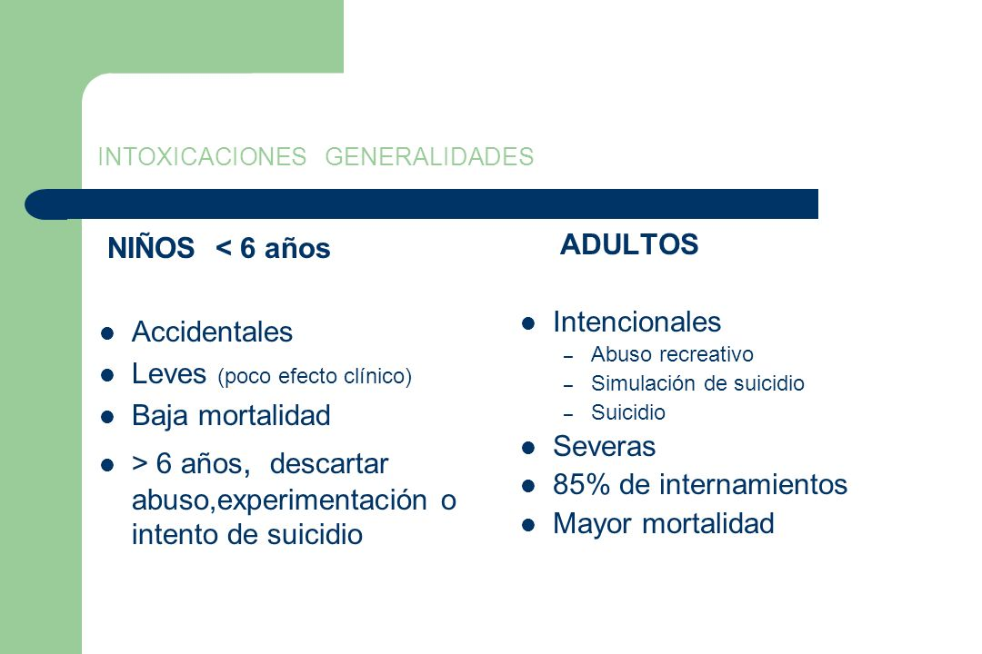 INTOXICACIONES GENERALIDADES NIÑOS < 6 años Accidentales Leves (poco efecto clínico) Baja mortalidad > 6 años, descartar abuso,experimentación o inten